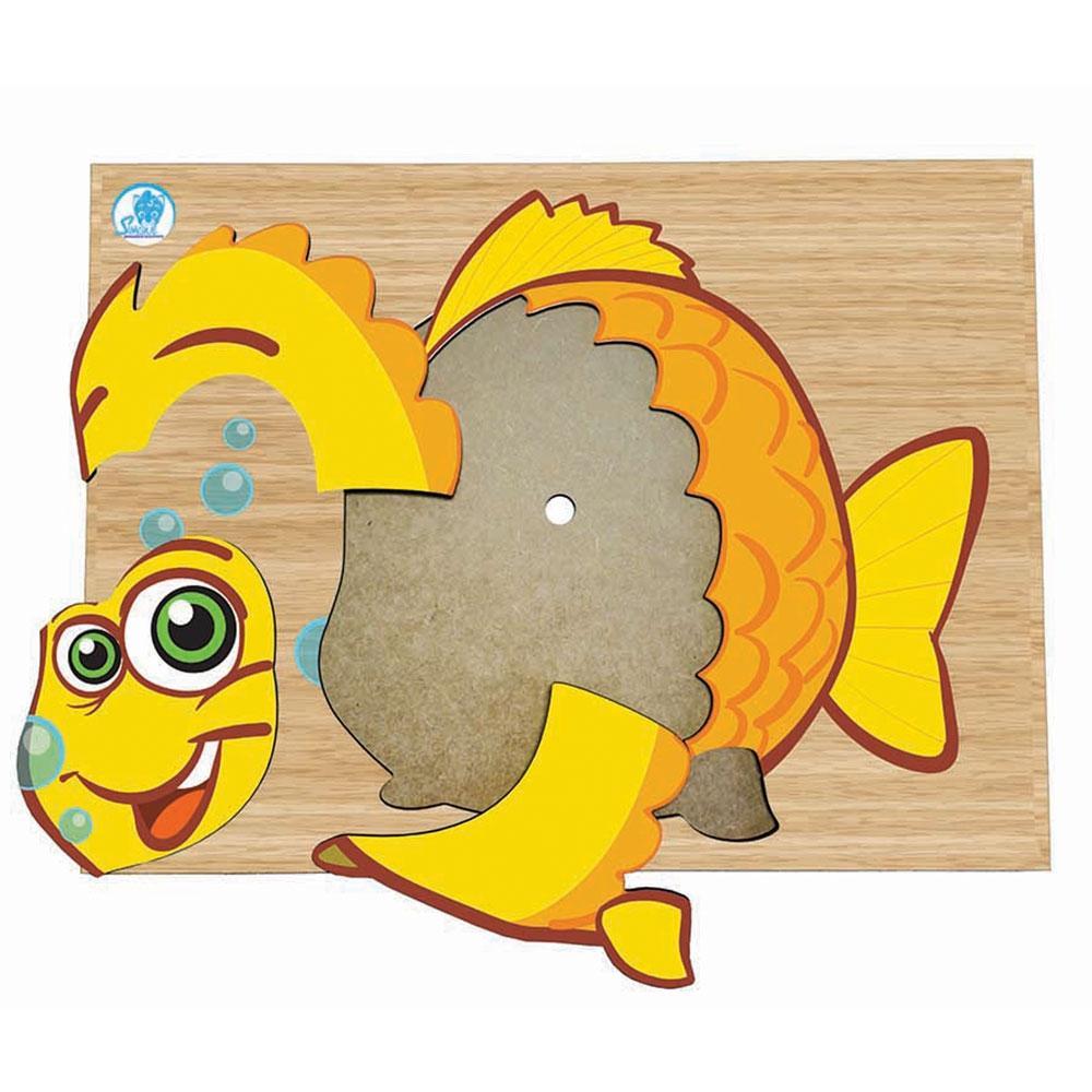 Quebra Cabeça de Placa em Madeira Peixe