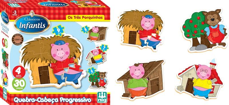 Quebra Cabeça Progressivo os 3 Porquinhos