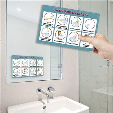 Adesivo Passo a Passo - Escovando os dentes