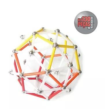 Barras Magnéticas com esferas Magstix - Super Kit 130 peças