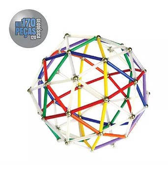 Barras Magnéticas com esferas Magstix - Super Kit 170 peças