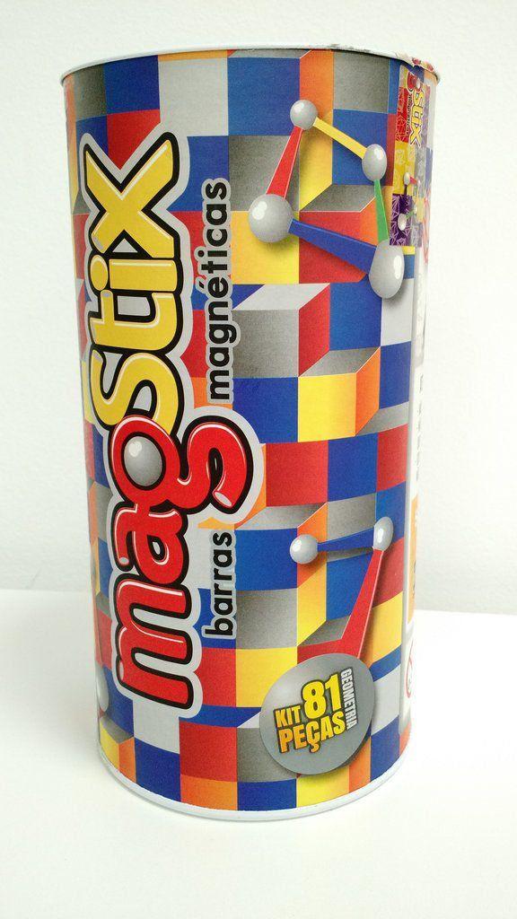 Barras Magnéticas com esferas Magstix - Super Kit Geometria 81 peças