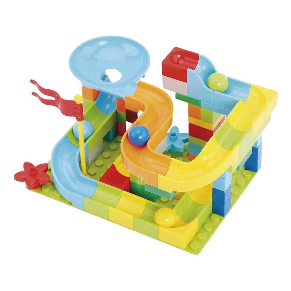 Pista Deslizante com Bolinha Peças maiores (Block Track Slide) - 54 peças