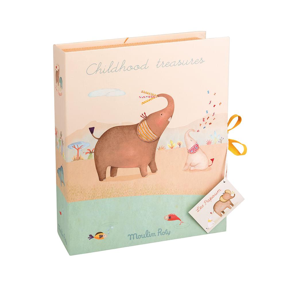 Caixa dos Primeiros Tesouros do Bebê Les Papoum Elefante