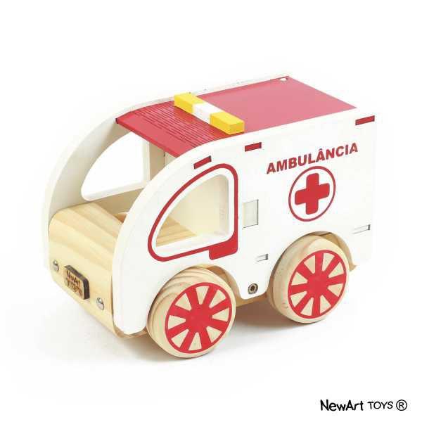 Coleção Carrinhos em madeira- Ambulância