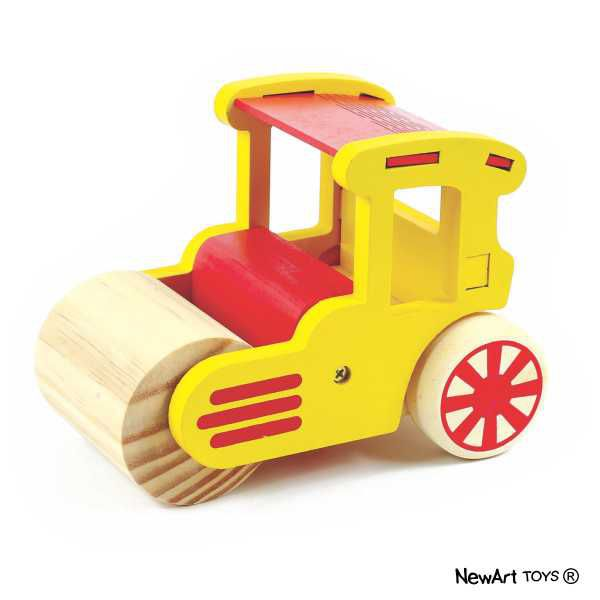 Coleção Carrinhos em madeira - Trator Rolo Compressor