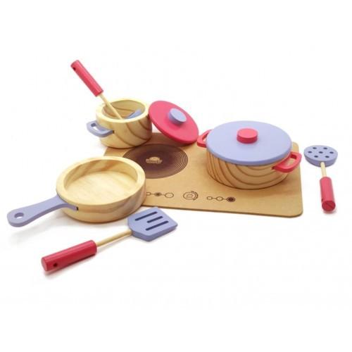 Coleção Comidinhas - Panelas com utensílios e cooktop Lilas/Rosa