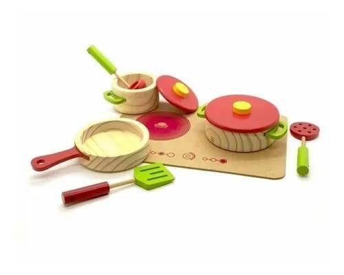 Coleção Comidinhas - Panelas com utensílios e cooktop Vermelha