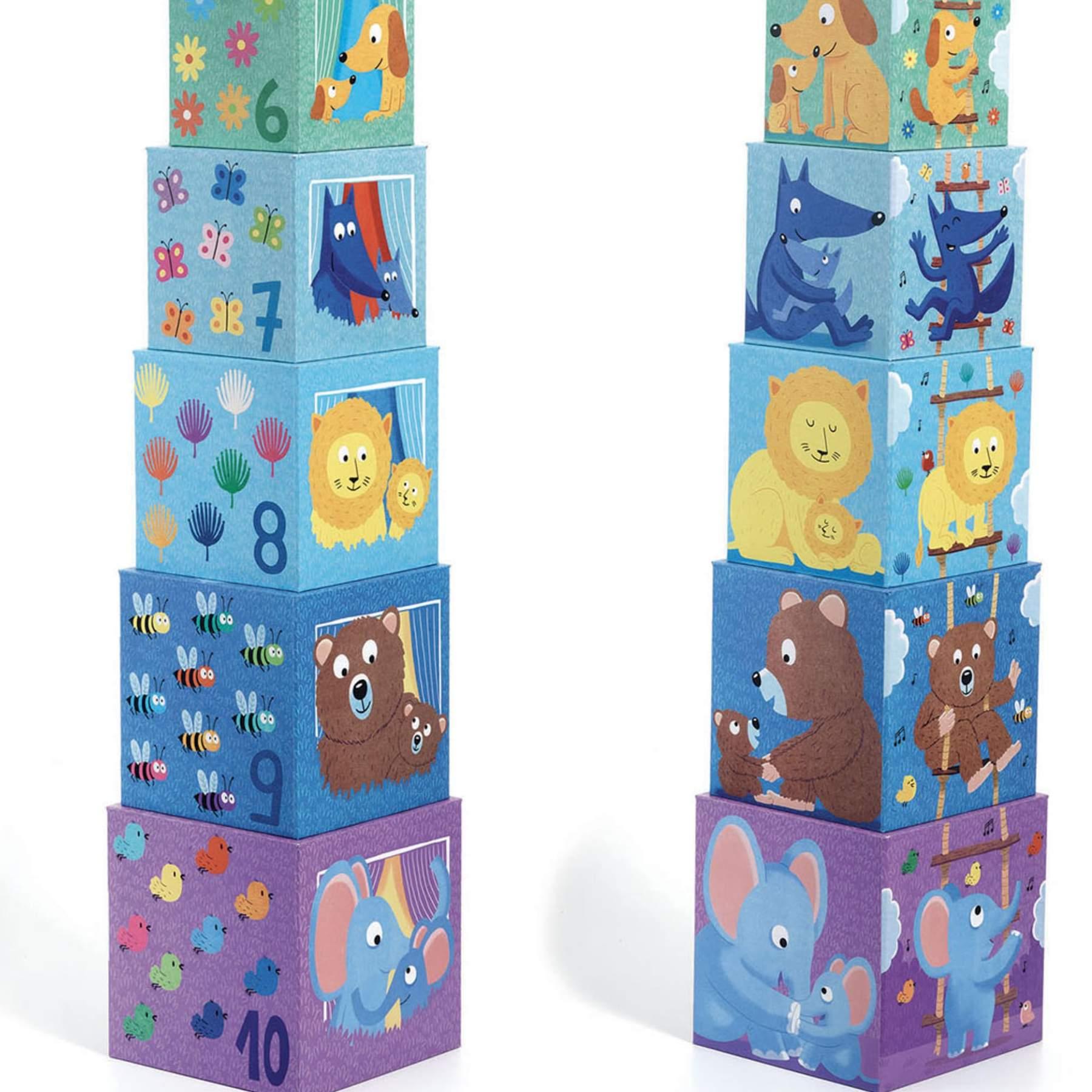 Cubos para empilhar Arco Iris - Djeco
