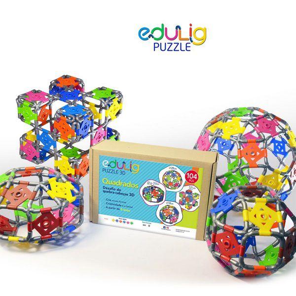 Desafio Edulig Criativo Puzzle 3D - Quadrados (104 peças)