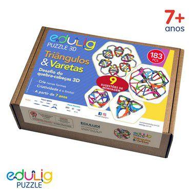 Desafio Edulig Criativo Puzzle 3D - Triângulos e  Varetas