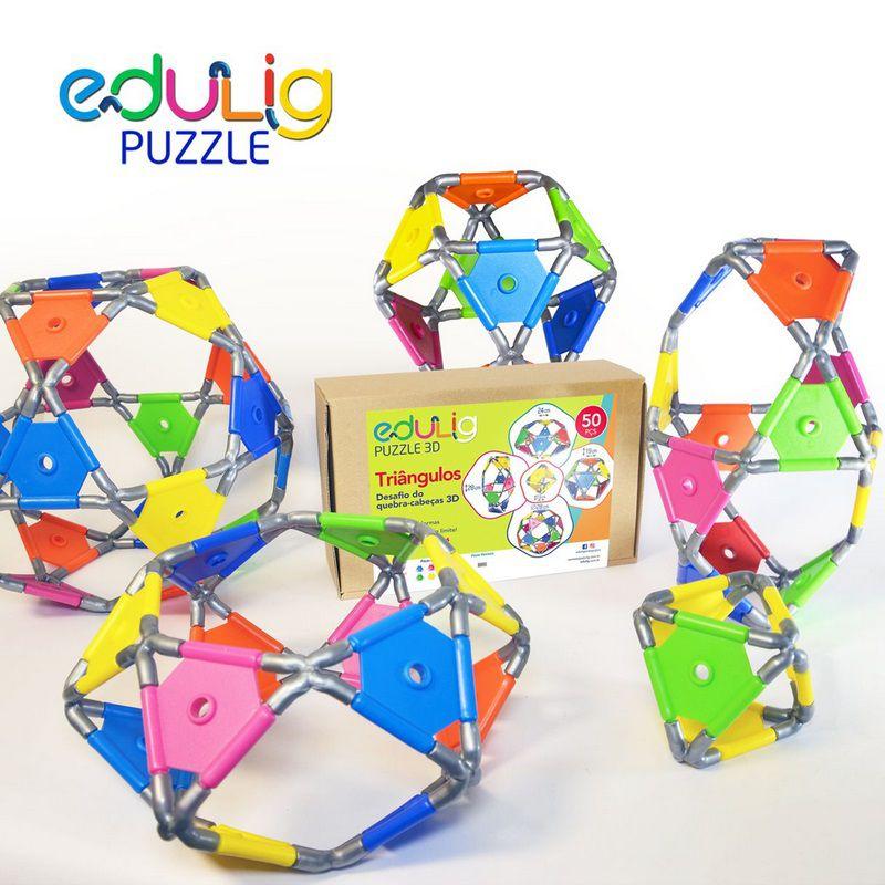 Desafio Edulig Criativo Puzzle 3D - Triângulos (50 peças)