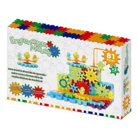 Engrenagem Maluca - Bloco de engrenagens coloridas - 81 peças