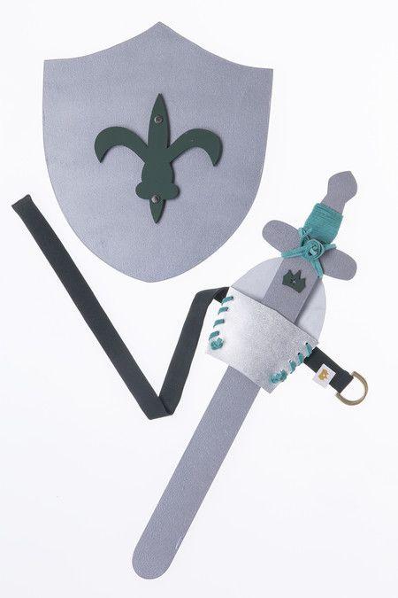 Escudo e Espada Cavaleiro Medieval Cinza  - Madeira