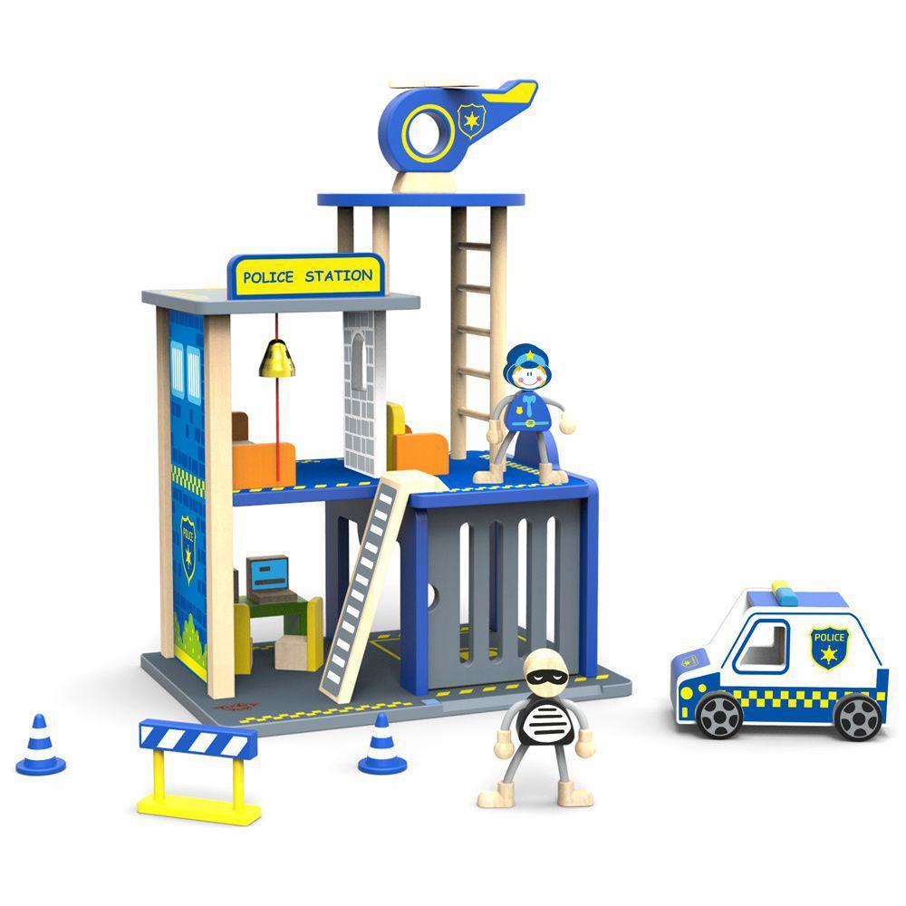Estação de Polícia com Acessórios - Madeira
