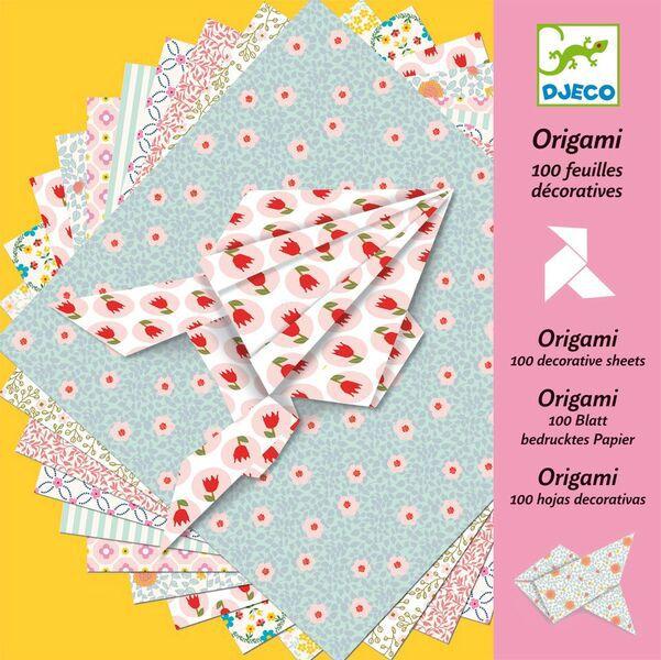 Folhas decoradas para Dobradura (origami) Pastel - Djeco