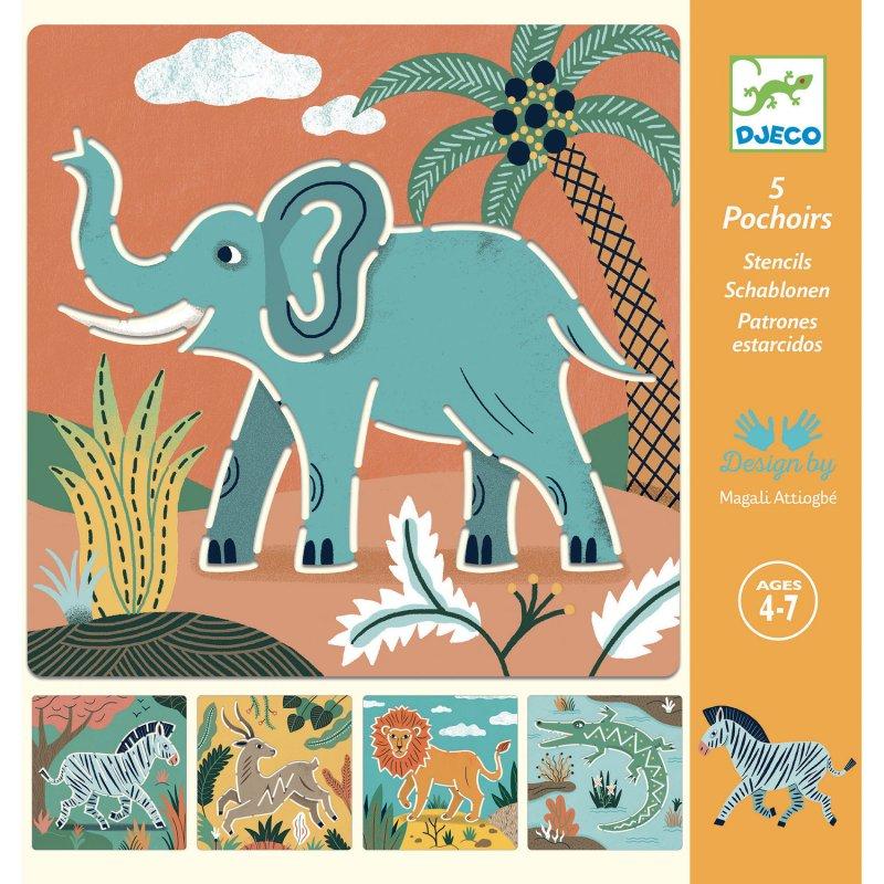 Kit Stencil Animais Selvagens - Djeco