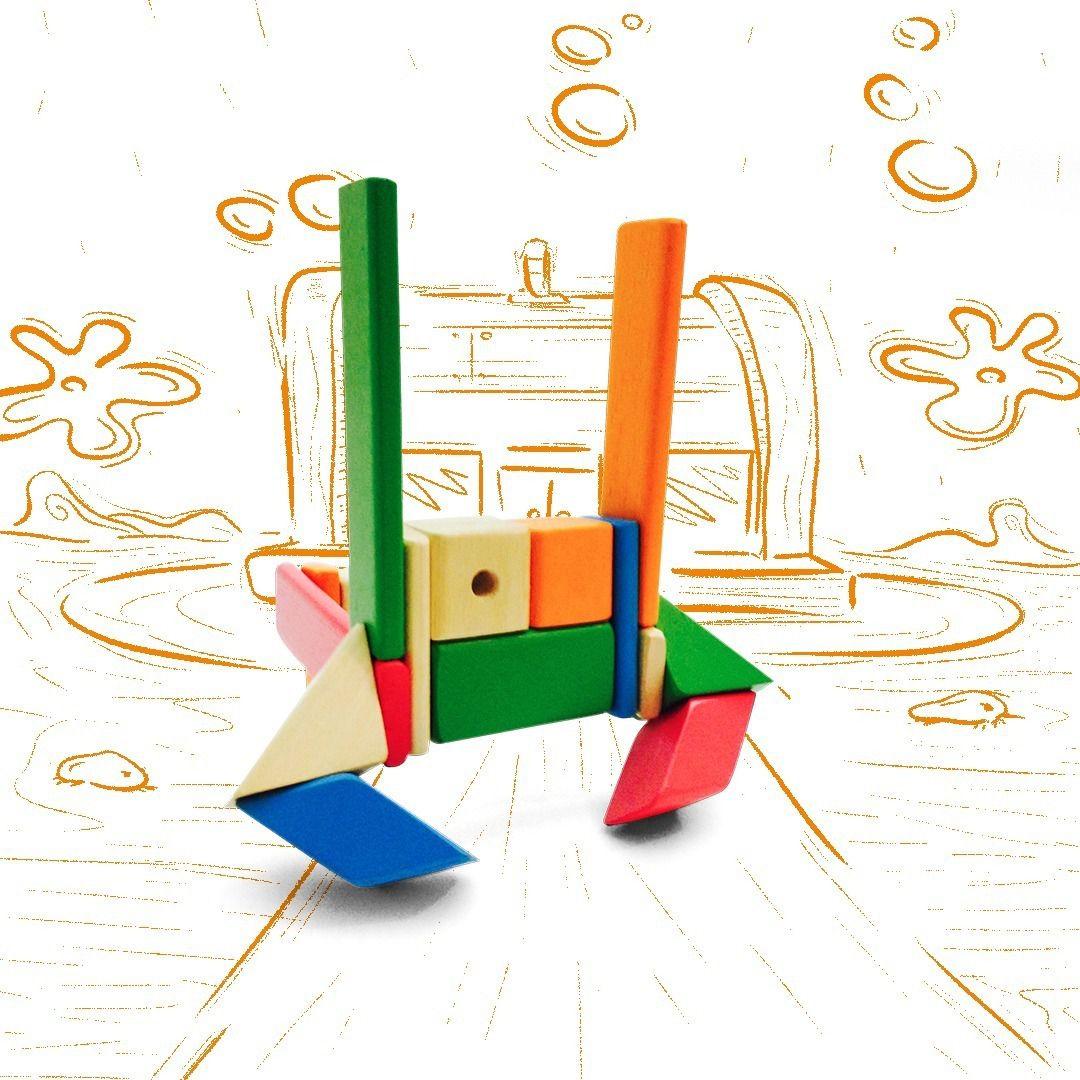 Blocos Magnéticos em Madeira - Kit Tac Plac - 16 peças