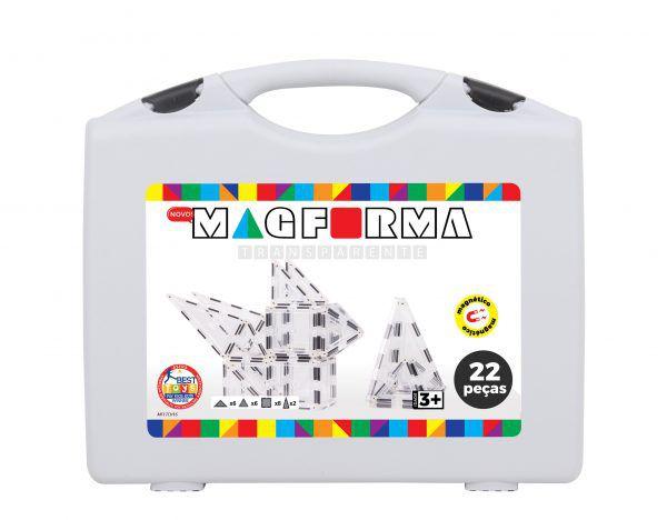 Blocos magnéticos para montar Magforma - Maleta 22 peças transparentes