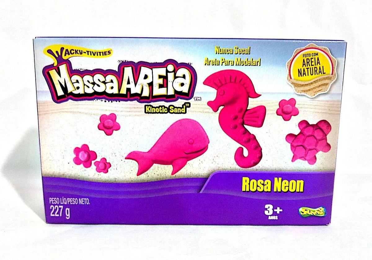 Massa Areia para Modelar Kinetic Sand Rosa Neon 227g - Sunny (areia cinética)