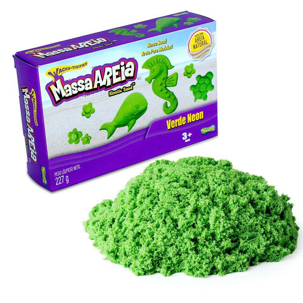 Massa Areia para Modelar Kinetic Sand Verde Neon 227g - Sunny (areia cinética)