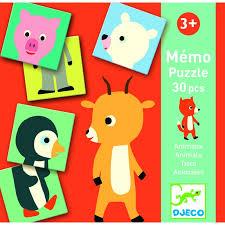 Memo Puzzle Animais -Djeco