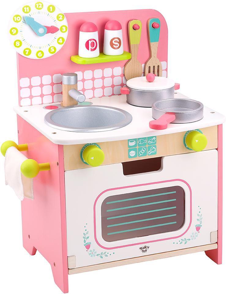 Mini Cozinha de Madeira Branca e Rosa - Tooky Toy