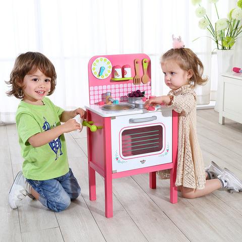 Mini Cozinha de Madeira Rosa