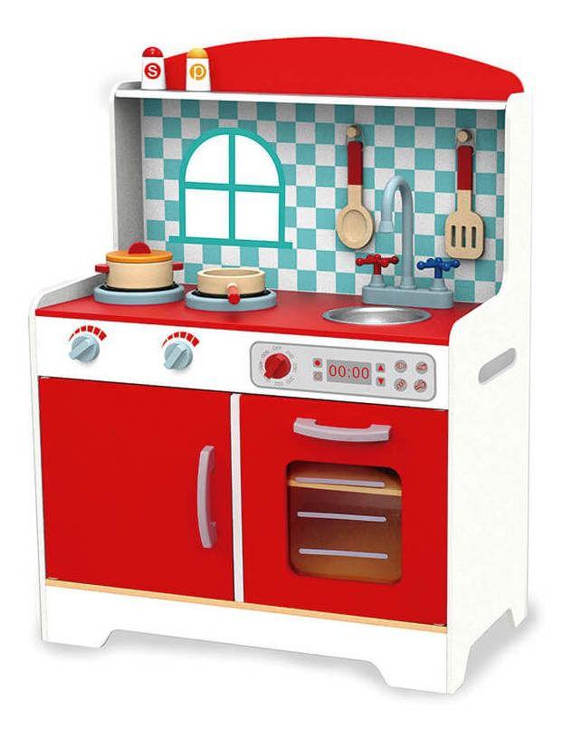 Mini Cozinha de Madeira Vermelha - Tooky Toy