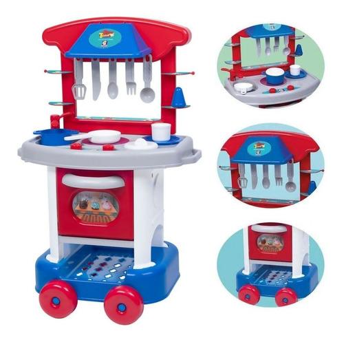 Mini Cozinha infantil Play Time - Azul/Vermelha