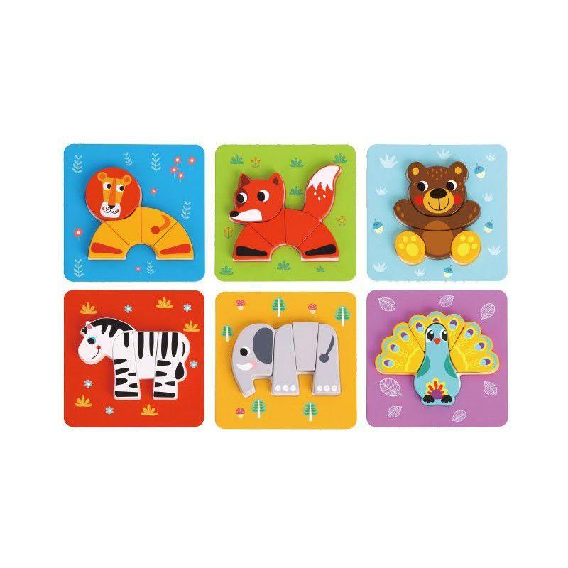 Kit Mini Quebra Cabeças - Animais (6 unidades)