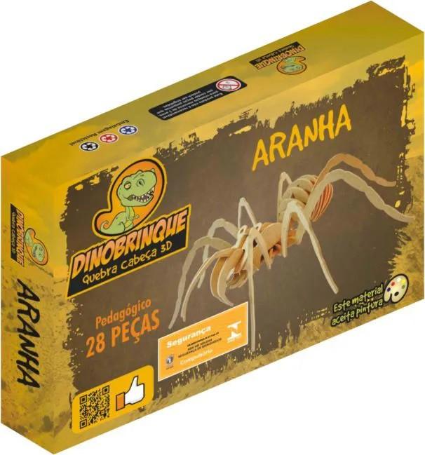 Quebra Cabeça 3D Aranha 28 Peças em MDF