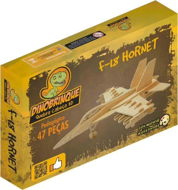 Quebra Cabeça 3D Avião F18 Hornet 47 Peças em MDF