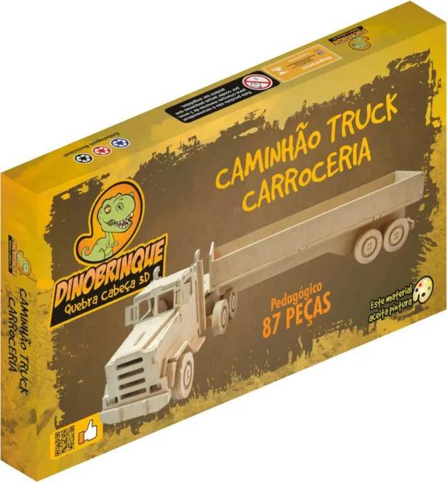 Quebra Cabeça 3D Caminhão Carroceria 87 Peças em MDF