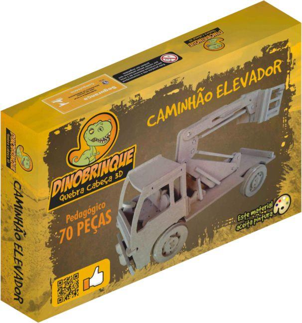 Quebra Cabeça 3D Caminhão Elevador 70 Peças em MDF