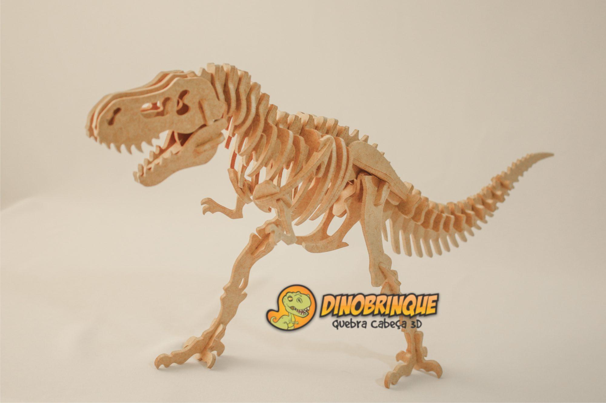 Quebra Cabeça 3D Dinossauro Braquiossauro Gigantesco 51 Peças em MDF