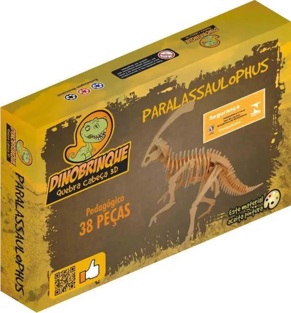 Quebra Cabeça 3D Dinossauro Parasaurolophus 38 Peças em MDF