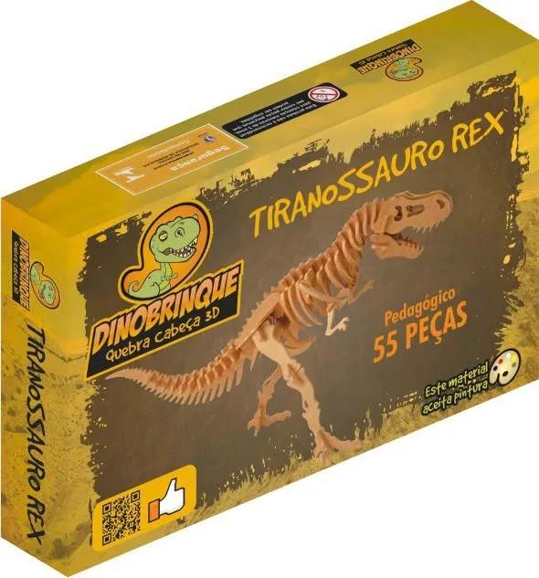 Quebra Cabeça 3D Dinossauro Tiranossauro Rex 55 Peças em MDF