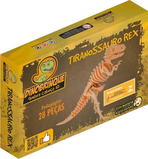 Quebra Cabeça 3D Dinossauro Tiranossauro Rex  28 Peças Grande em MDF