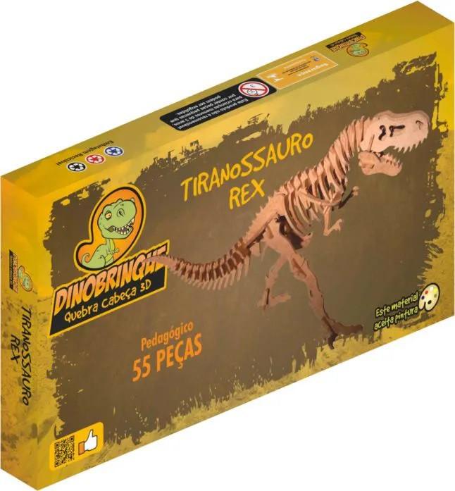 Quebra Cabeça 3D Dinossauro Tiranossauro Rex Gigantesco (110cm altura)  55 Peças em MDF