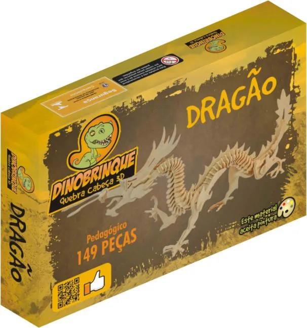 Quebra Cabeça 3D Dragão Chinês 149 Peças em MDF