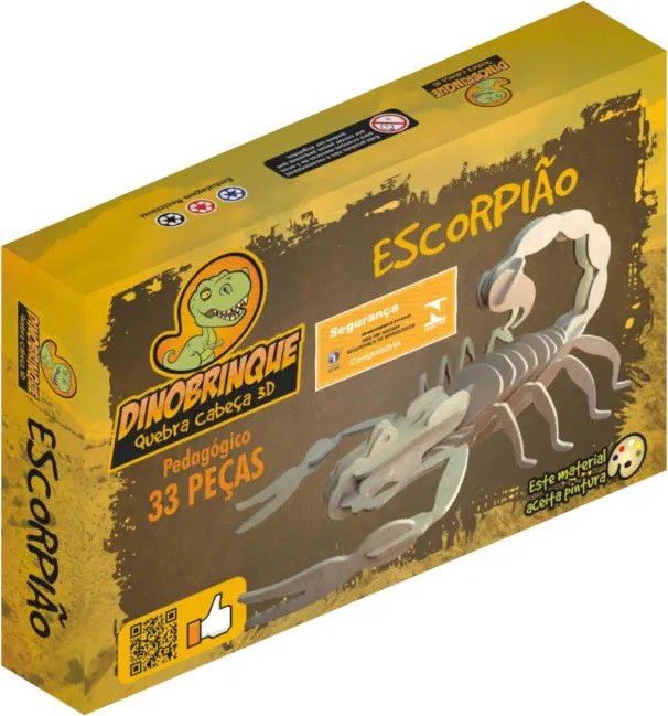 Quebra Cabeça 3D Escorpião 33 Peças em MDF
