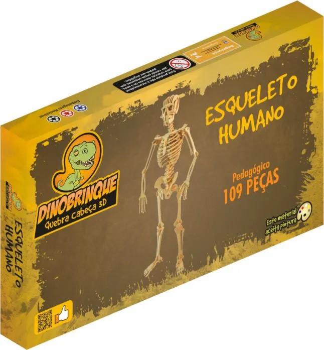 Quebra Cabeça 3D Esqueleto Humano 109 Peças em MDF