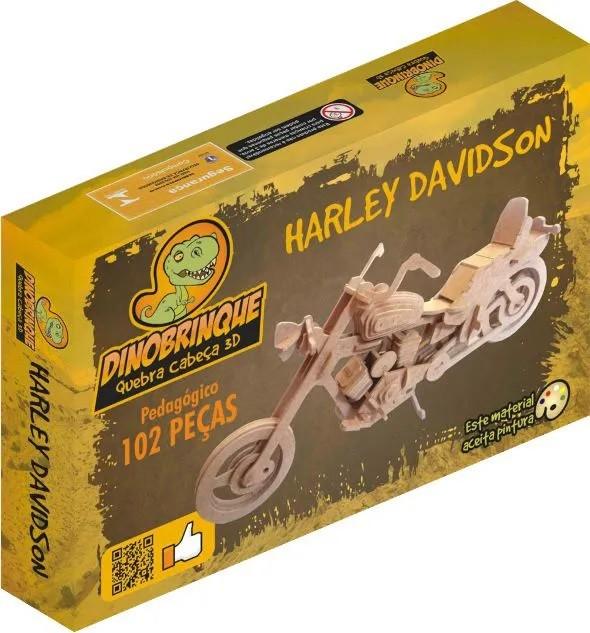 Quebra Cabeça 3D Moto Harley 102 Peças em MDF