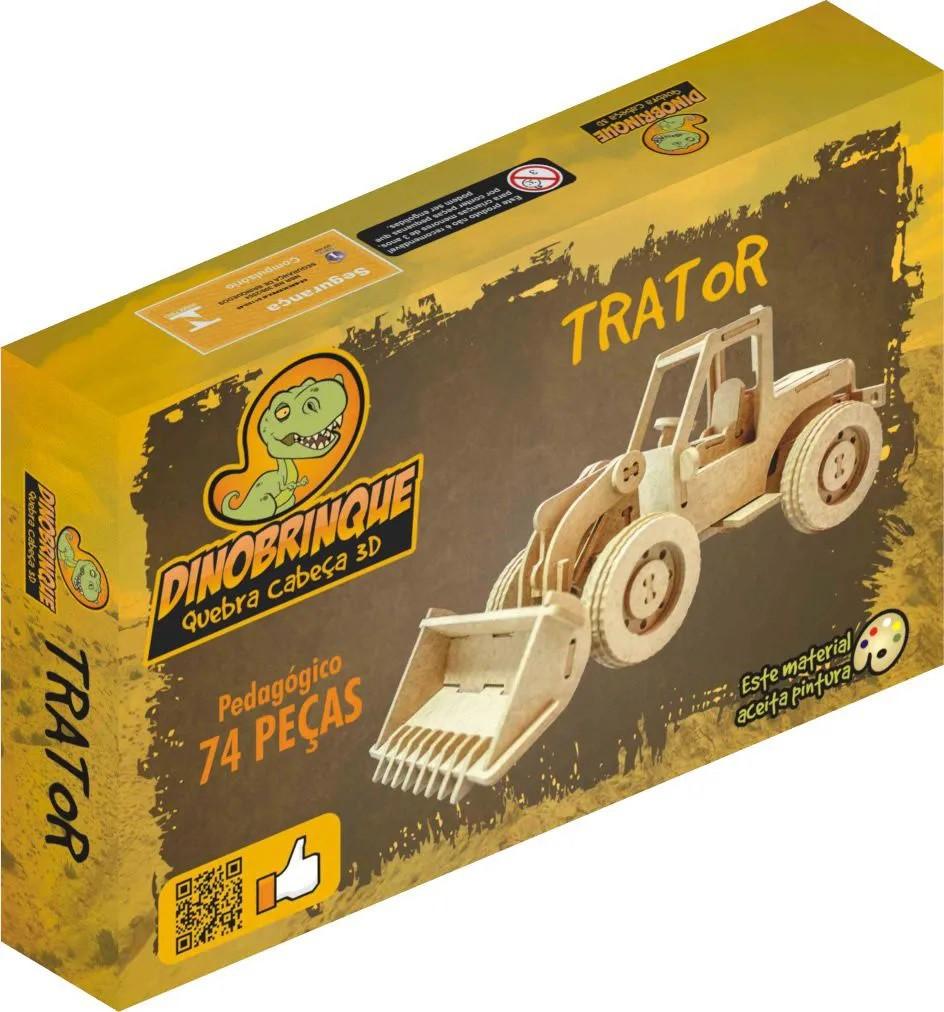 Quebra Cabeça 3D Trator Pá Carregadeira 74 Peças em MDF
