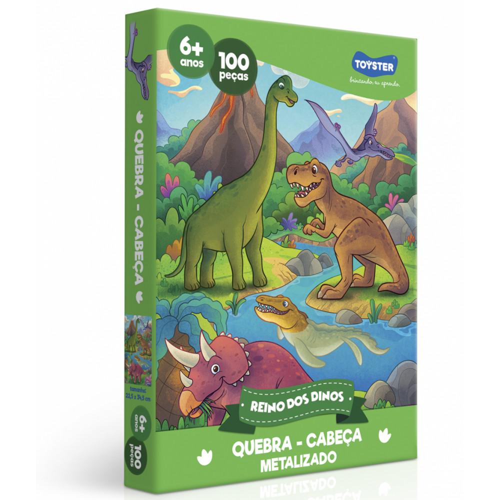 Quebra cabeça Mundo dos Dinos Metalizado - 100 peças