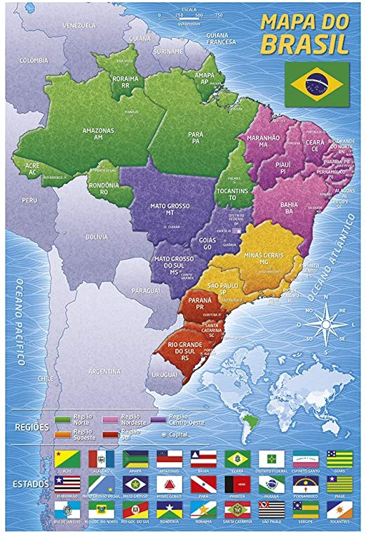 Quebra cabeças 200 peças - Mapa do Brasil