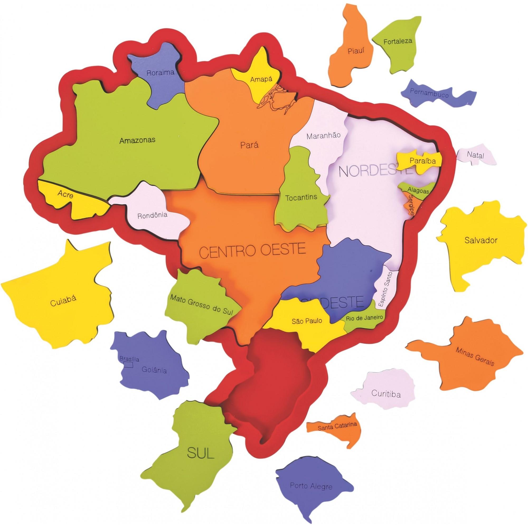 Quebra cabeças em Madeira Mapa Brasil - Regiões, Estados e Capitais