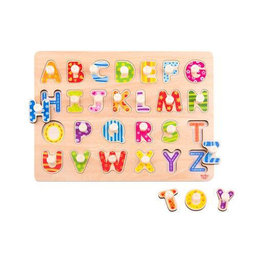 Tabuleiro de encaixe com pinos - Alfabeto
