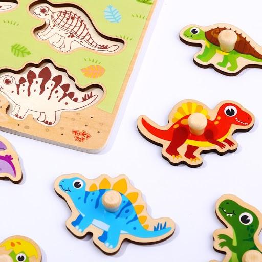 Tabuleiro de encaixe com pinos - Dinossauros